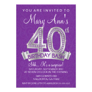 quarantième Invitation d anniversaire de diamant -