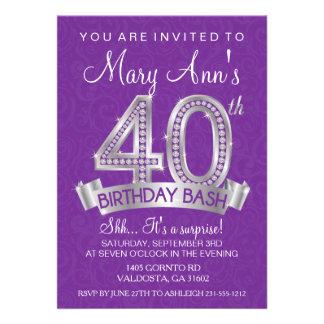 quarantième Invitation d'anniversaire de diamant -