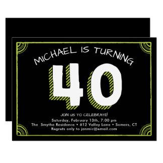 quarantième Invitation d'anniversaire, verte