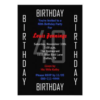 quarantième Invitation de fête d anniversaire - 40