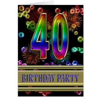 quarantième Invitation de fête d'anniversaire
