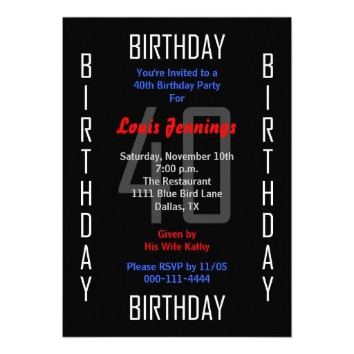 quarantième Invitation de fête d'anniversaire - 40