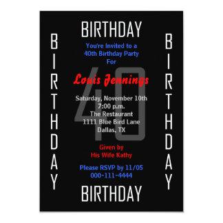 quarantième Invitation de fête d'anniversaire - 40 Carton D'invitation 12,7 Cm X 17,78 Cm
