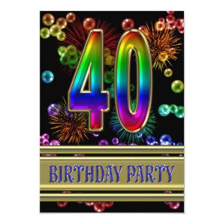 quarantième Invitation de fête d'anniversaire avec Carton D'invitation 12,7 Cm X 17,78 Cm