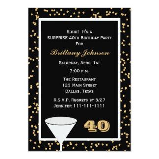 quarantième Invitation de fête d'anniversaire de Carton D'invitation 12,7 Cm X 17,78 Cm