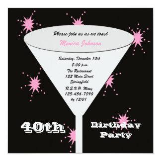 quarantième Invitation de fête d'anniversaire - Carton D'invitation 13,33 Cm