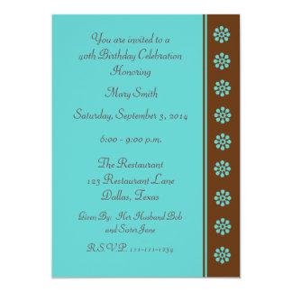 quarantième Invitation de fête d'anniversaire -- Carton D'invitation 12,7 Cm X 17,78 Cm