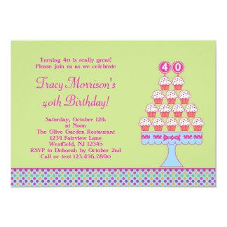 quarantième Invitation de petits gâteaux Carton D'invitation 12,7 Cm X 17,78 Cm