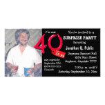 Quarantième invitation de photo de fête d'annivers photocarte customisée