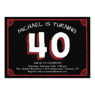 quarantième Invitation, rouge et noir Carton D'invitation 12,7 Cm X 17,78 Cm