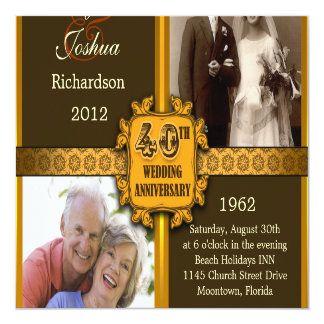 quarantième invitations d'anniversaire de mariage