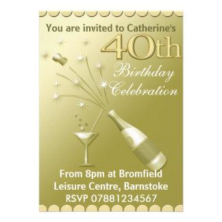 quarantième Invitations de fête d anniversaire - o