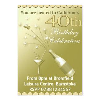quarantième Invitations de fête d'anniversaire -