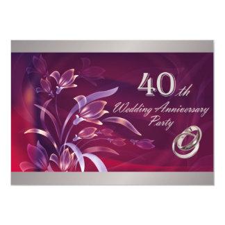 quarantième Invitations de fête d'anniversaire de Carton D'invitation 12,7 Cm X 17,78 Cm