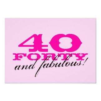 quarantième Invitations de fête d'anniversaire Carton D'invitation 12,7 Cm X 17,78 Cm