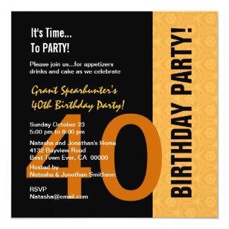 quarantième Or moderne d'anniversaire et C843 noir Carton D'invitation 13,33 Cm