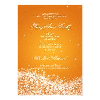 Quarantième orange élégante de vague de invitations