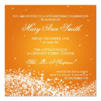 Quarantième orange élégante de vague de cartons d'invitation