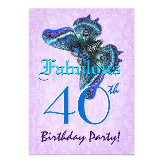 Quarantième papillons fabuleux W1804 de turquoise Carton D'invitation 12,7 Cm X 17,78 Cm