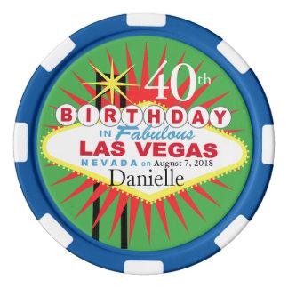 Quarantième puce de casino d'anniversaire de Las Jetons De Poker