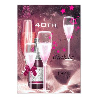 quarantième Rose Champagne 40 de fête Carton D'invitation 12,7 Cm X 17,78 Cm