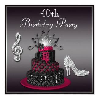 quarantième Roses indien de gâteau et de talons de Carton D'invitation 13,33 Cm