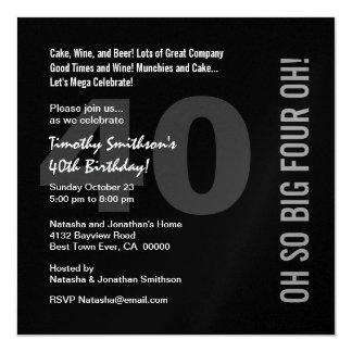 quarantième Rouge blanc QUATRE OH W268 de noir Carton D'invitation 13,33 Cm