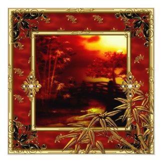quarantième Rouge en bambou 2 d'or asiatique de Carton D'invitation 13,33 Cm