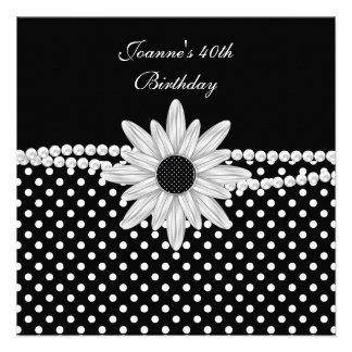 quarantième Tache blanche noire de fleur de perle Faire-parts