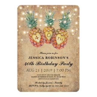 Quarantième tropical de l'anniversaire | d'ananas carton d'invitation  12,7 cm x 17,78 cm