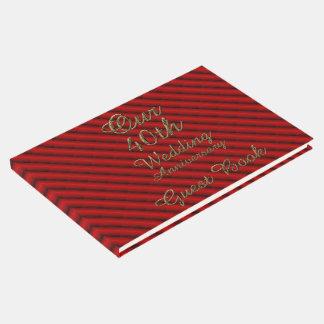 quarantième Typographie rouge d'or d'anniversaire Livre D'or