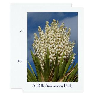 quarantième Yucca fleurissant d'invitation de fête Carton D'invitation 12,7 Cm X 17,78 Cm
