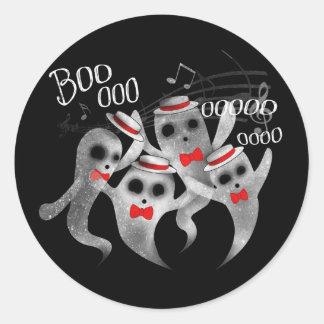 Quartet fantomatique de salon de coiffure sticker rond