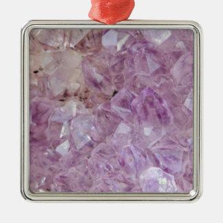 Quartz en cristal violet en pastel ornement carré argenté