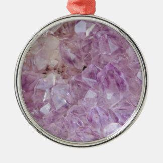 Quartz en cristal violet en pastel ornement rond argenté