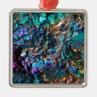 Quartz luisant d'huile de turquoise ornement carré argenté