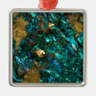 Quartz turquoise marée de noir et d'or ornement carré argenté