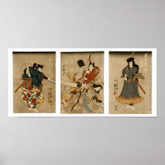 Quatre acteurs, beaux-arts de Japonais de Poster