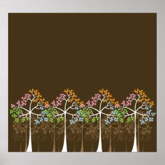 Quatre arbres de saisons sur l'affiche de Brown Poster