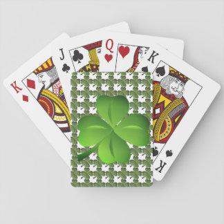 Quatre cartes de jeu chanceuses de trèfle de jeu de cartes