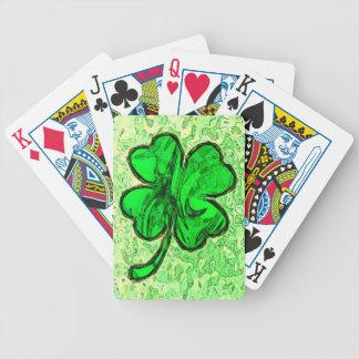 QUATRE cartes de jeu de TRÈFLE de FEUILLE Jeux De Cartes