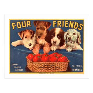 Quatre chiens vintages d'étiquette de caisse de cartes postales