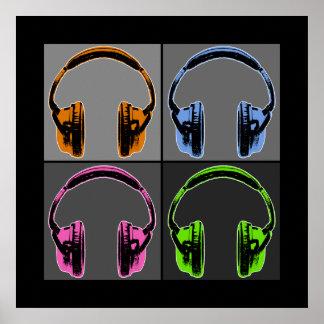 Quatre écouteurs d'art de bruit poster