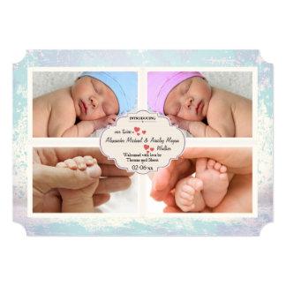 Quatre faire-part de naissance modernes de photo carton d'invitation  12,7 cm x 17,78 cm