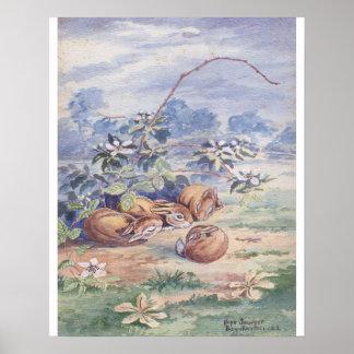Quatre lapins de sommeil copie 16 x 20 poster