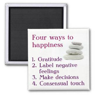 Quatre manières au bonheur magnet carré