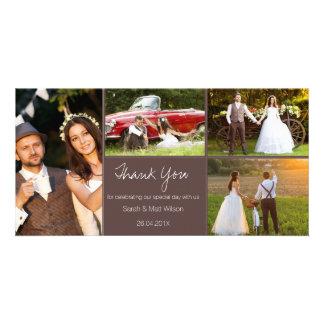Quatre Mercis rustique Photocard de mariage de Modèle Pour Photocarte