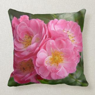 quatre roses de buisson fleurissant rose dans le j
