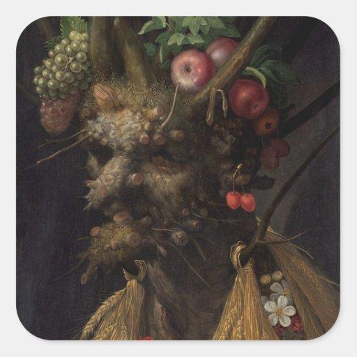 Quatre saisons dans l'une tête, c.1590 2 autocollants carrés