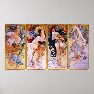 Quatre saisons par Alphonse Mucha 1895 Poster